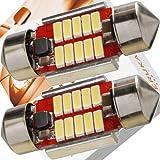 エルカ(Eruka) T10 × 31 LED 31mm 9-33V(瞬間最大耐圧60V) 超強化特注電源回路仕様 12V 24V 車 兼用 こんなにコンパクト なのにこの明るさ 新世代4014型LED10連 極性フリー 国内検査品 2個 ホワイト TS-084-2S