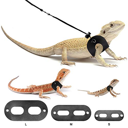 BWOGUE Bearded Dragon Harness and Leash Adjustable Leather Lizard Reptiles Harness Leash for Amphibians and Other Small Pet Animals (S,M,L,3 Pack)