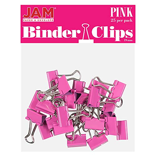 JAM PAPER Colorful Binder Clips - Small - 3/4 Inch (19 mm) - Pink Binderclips - 25/Pack