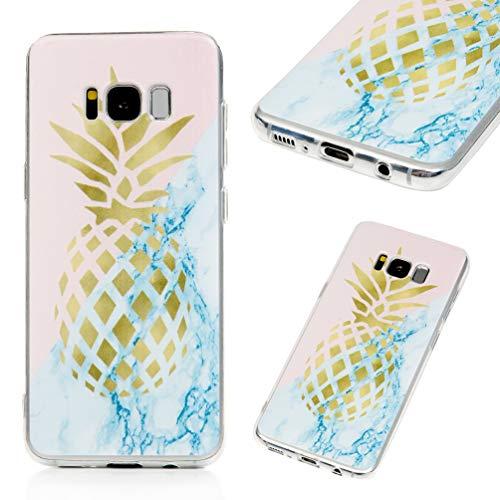 Hülle für Samsung Galaxy S8, Gemalt Handyhülle Case, Soft TPU Schale Schutzhülle Handytasche Anti Fallen Stoßdämpfung Cover in Stechende goldene Ananas