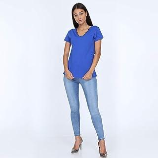V-NECK WOMEN BLUE T-SHIRT