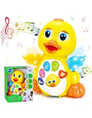 HOLA Dancing Walking Yellow Duck Baby Toy with Music and LED Light Up for Infants, Toddler Interactive Learning Development, School Classroom Prize for Children