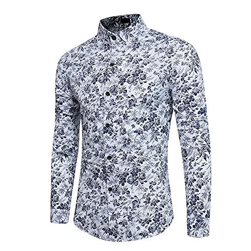 N\P Camisas de manga larga con estampado floral para hombre