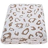 SOCHOW Uragiri Flannel Fleece Throw Blanket, Lightweight Super Soft Cozy Plush Bed Blanket, 50 × 60 Inches, Brown Leopard
