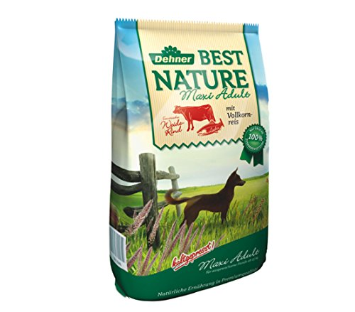 Dehner Best Nature Hundetrockenfutter Maxi Adult, Rind und Lachs, 12.5 kg