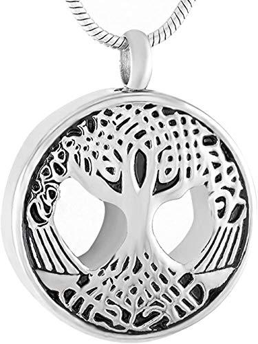 TYBM Novedad Collares Colgantes Joyería Exquisita Collar De Caja De Recuerdo De Joyería De Cremación De Árbol De La Vida De Acero Inoxidable