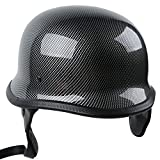 TCMT Dot Adult German Style Carbon Fiber WWII Black Half Helmet Motorcycle Chopper Cruiser Biker Helmet L