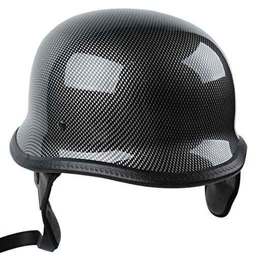TCMT Dot Adult German Style Carbon Fiber WWII Black Half Helmet Motorcycle Chopper Cruiser Biker Helmet XL
