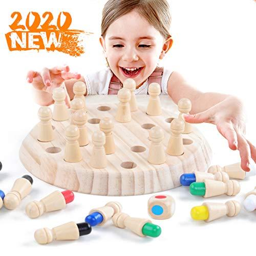Zaloife Ajedrez de Memoria para Niños, Juguetes Infantil Montessori, Wooden Memory Match Stick Chess, Juegos Educativos Familiar cognitivos de Color, Regalos Niños Niña