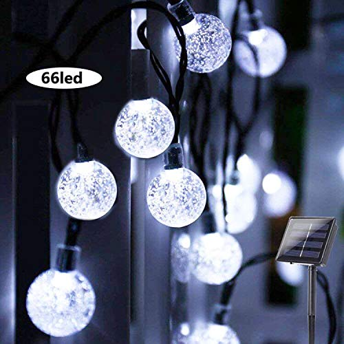 Solar String Lights Globe 39 Feet 66LED Crystal Balls Waterproof LED Fairy Lights 8 Modes Outdoor Starry Lights Solar Powered String Light for Garden Yard Home Party Wedding Decoration(White) (White)