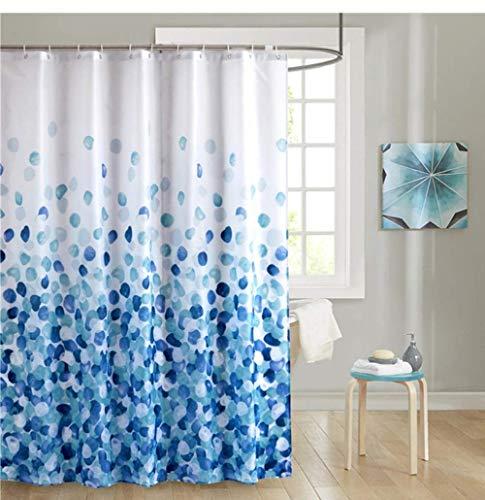 YUNZHIFU Cortinas De Ducha Cortina De Ducha De Baño De Tela Floral Ganchos De Plástico Cortinas De Flores Impermeables Azul 80X180Cm