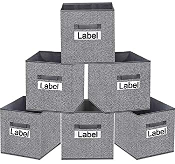homyfort Cube Storage Bins 12x12 Foldable Fabric Closet Storage Bin Organizer Baskets Box with Labels and Durable Handles for Shelf,Nursery and Office,Set of 6  Grey