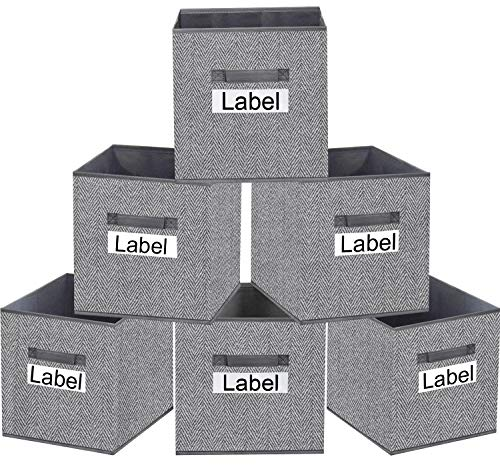 homyfort Storage Bins Cube 13x13, Foldable Fabric Closet Storage Bin Organizer Baskets Box with Labels and Durable Handles for Shelf,Nursery and Office,Set of 6 (Grey)