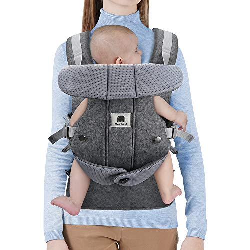 Image of the Meinkind Baby Carrier, 2-in-1 Convertible Carrier Ergonomic, Soft Breathable Comfortable Infant Carrier Front Carrier with Head Support, Padded Shoulder Strap, Up to 33lbs Baby, Dark Grey