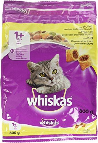 Whiskas Katzenfutter Trockenfutter Adult 1+ mit Huhn, 1 Beutel (1 x 800 g)
