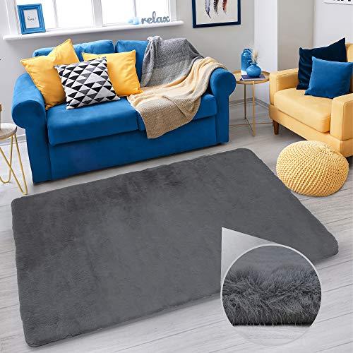 Deko Teppich Für Wohnzimmer ,Schlafzimmer, Kinderzimmer by Sensoo | Hochflor Teppich | rutschfest | Modern | Flauschig Rug Langflor | Homeoffice Carpet (Dunkelgrau, 120 x 160 cm)