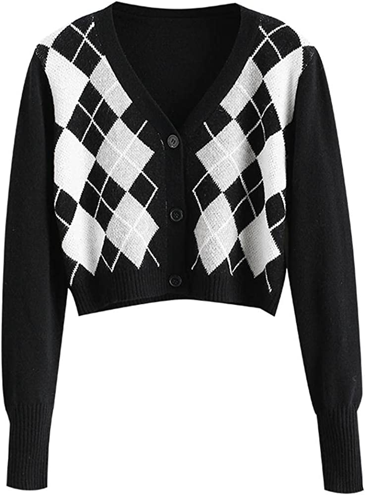 ZAFUL Women's Long Sleeve V-Neck Argyle Knitted Crop Sweater Pullover Tops Button Up Crop Cardigan