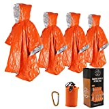 Ninth C 4pcs Emergency Blanket Poncho, 39.3 x 53inch Waterproof Thermal Mylar Space Blanket Raincoat Ponchos Survival Gear and Equipment for Outdoor Activity Camping Hiking (4pcs Orange)
