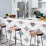 Freshtour - Adhesivo decorativo para pared posterior de cocina, 61 x 500 cm, lámina adhesiva para muebles de cocina, baño, encimera, cocina, azulejos, papel pintado antisalpicaduras de PVC