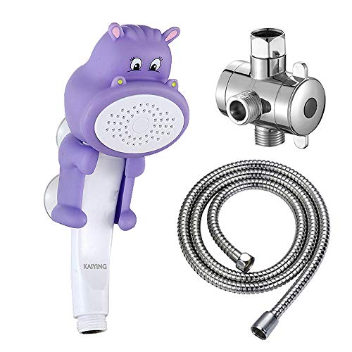 KAIYING Children's Handheld Shower Head,Cartoon Water Flow Spray Shower Head Baby Kids Toddler Bath Play Bathing Toys (K:Showerhead(Hippie)+Hose+Diverter)