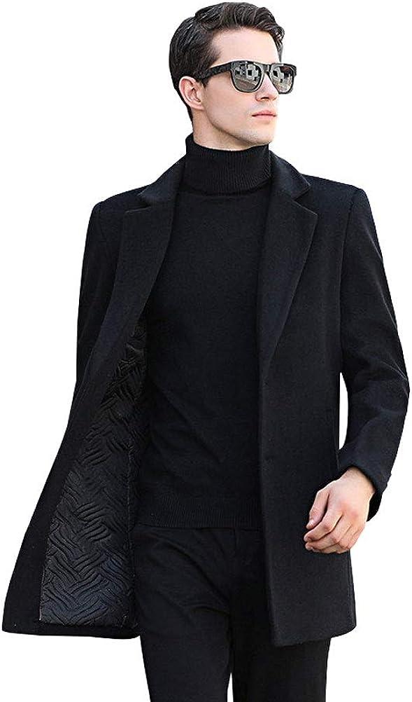 Mens Casual Slim Fit Wool Blend Lapel 2-Button Midi-Long Heavyweight Business Jacket Coat Outwear