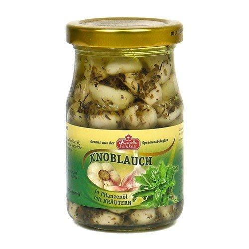 Knoblauchzehen in Öl mit Kräutern (185 g Glas)