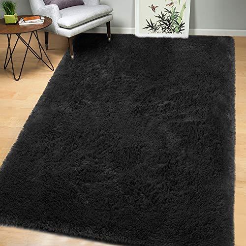 AROGAN - Alfombra suave y esponjosa para dormitorio, alfombra de salón o guardería para niños, alfombra de piso grande peluda para niñas, habitación de niños, decoración del hogar, color negro