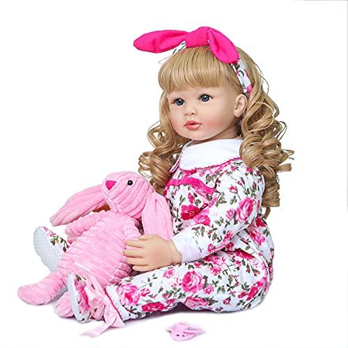 Reobrn niño muñecas Elegante Princesa niña 24'Silicone Bebe Reborn Dolls brinquedos niño Juguetes Regalo,Blond Hair