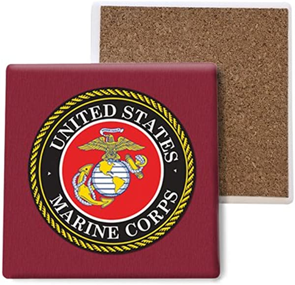 SJT ENTERPRISES INC United States Marines Absorbent Stone Coasters 4 Inch 4 Pack SJT96804