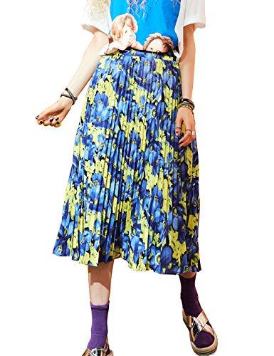 ELFSACK dames bloemen patroon A-lijn rok met plooien Midi oversized vrijetijdskleding lange asymmetrische rok
