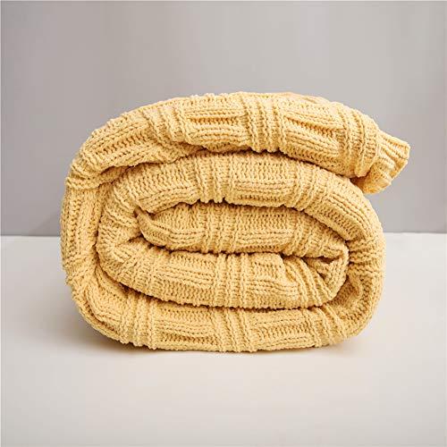 Bureau Siesta Climatiseur Couvre-lit double agneau cachemire Couverture Épaississement Canapé d'hiver super couvertures chaudes Throw Cozy,Jaune,150x200cm