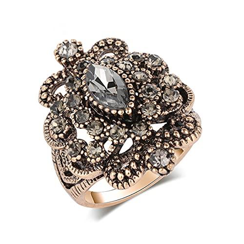 EzzySo Anillo Tallado de Cristal Negro, Americana Retro Exquisito Hembra Hueco de aleación única de aleación de joyería (2 Piezas),9