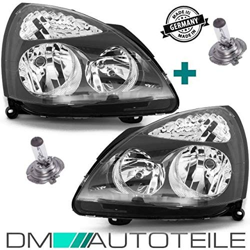 DM Autoteile Clio II 2 Scheinwerfer Set Klarglas schwarz H7/H1 01-05+Birnen +GARANTIE