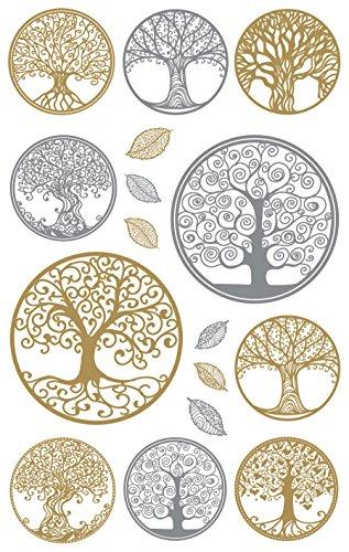 AVERY Zweckform Folien Sticker Lebensbaum 16 Aufkleber silber & gold (Dekosticker, Aufkleber, selbstklebend, Scrapbooking, Bullet Journal Zubehör, Geburtstag, Dekorieren, Karten, Fotoalbum) 55654