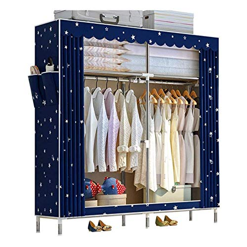 CXVBVNGHDF Portable Fabric Closet Wardrobe 25mm Thickened Steel Pipe with 2 Hanging Rails and 4 Shelves Quick and Easy to Install Used In Bedroom, Living Room, Cloakroom,A