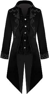 Men's Steampunk Gothic Jacket Long Sleeve Button Vintage Victorian Tailcoat Tuxedo Uniform Halloween Costume Coat