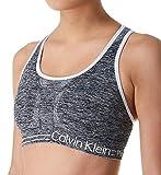 Calvin Klein Women's Premium Performance Moisture Wicking Medium Impact Reversible Sports Bra, Heather Grey/White, Medium