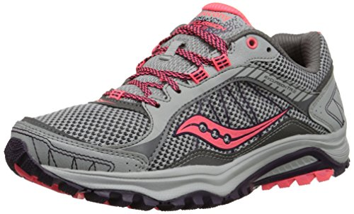 Saucony Women's Grid Excursion TR9 Trail Running Shoe, Grey/Plum/Coral, 7.5 M US