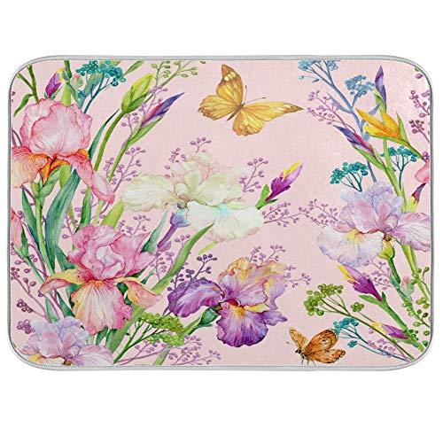 ADMustwin - Alfombrilla para secar platos de cocina, diseño de mariposa, tulipán, flores, resistente al calor, absorbente, lavable para encimera de 60,96 x 45,72 cm