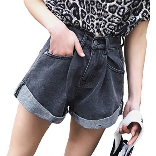Pantalones Cortos de Cintura Alta para Mujer Moda Relajada Tendencia Informal Crimpin Pantalones Cortos de...