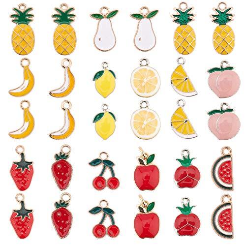 SUNNYCLUE フルーツのスイーツ 15種30個 チャーム イチゴ 桃 イヤリング スイカ 桜桃 ネックレス りんご バナナ ピアス レモン パイン 果物 合金 エナメルペンダント チョーカー ブレスレット チャームペンダント アクセサリーパーツ 基礎