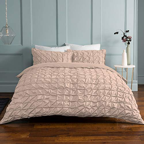 Sleepdown Rouched Pleats Easy Care Soft Duvet Cover Quilt Bedding Set with Pillowcase (King Duvet Set, Blush Pink)