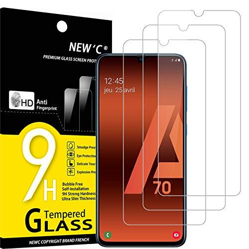 NEW'C 3 Unidades, Protector de Pantalla para Samsung Galaxy A70, Antiarañazos, Antihuellas, Sin Burbujas, Dureza 9H, 0.33 mm Ultra Transparente, Vidrio Templado Ultra Resistente