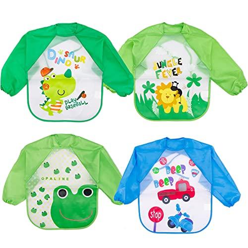 Baogaier Niño Baberos con Mangas Impermeables Manga Larga Lavables Camiseta EVA Comida Bebe Baberos de Alimentación Fáciles de Lavar Niños Ajustable Babero para Comer Pintar Tocar 4PCS - Azul Verde