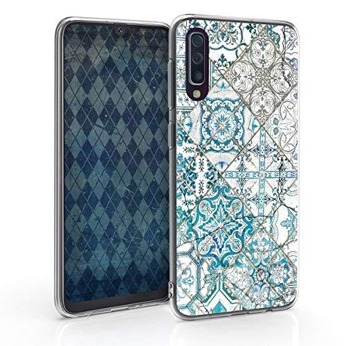 kwmobile Hülle kompatibel mit Samsung Galaxy A50 - Handyhülle - Handy Case Marokkanische Fliesen einfarbig Blau Grau Weiß