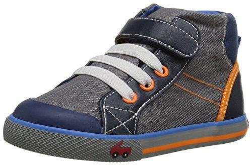 See Kai Run Boys' Dane Sneaker, Gray Denim, 5.5 M Toddler