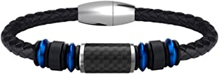 Leather Bracelet for Men Stainless Steel Bracelet with Carbon Fiber Bead Magnetic Clasp 8.5 inch