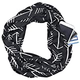 Mnyycxen Fashion Women Chain Link Pattern Infinity Scarf Wrap Scarf with Zipper Pocket, Infinity Scarves (Black)
