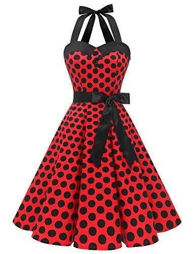 Dressystar, abito vintage a pois, stile rockabilly, anni '50, anni '60, con allacciatura al collo Rosso e nero a pois. XS