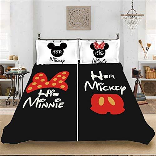 DCWE Disney Mickey Mouse - Juego de cama de 2/3 piezas, funda nórdica + funda de almohada, 100% poliéster, impresión digital, 15, 220X260CM